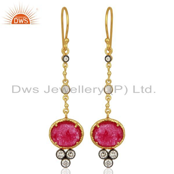 Red Aventiurine Gemstone Gold Plated Fashion Earrings Manufacturer