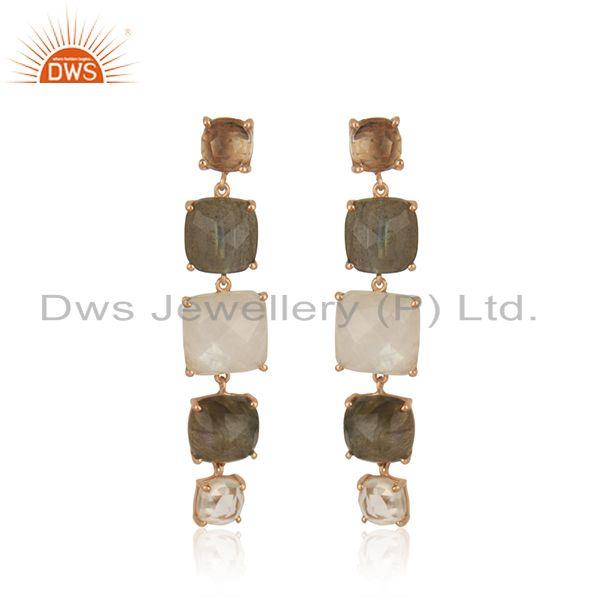 92.5 Sterling Silver Rose Gold Plated Multi Gemstone Earring Manufacturer India