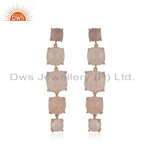 Rose Chalcedony Gemstone 925 Silver Rose Gold Plated Earrings Suppliers India