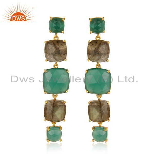Prong Setting Labradorite and Green Onyx Gemstone 925 Silver Gold Plated Earring