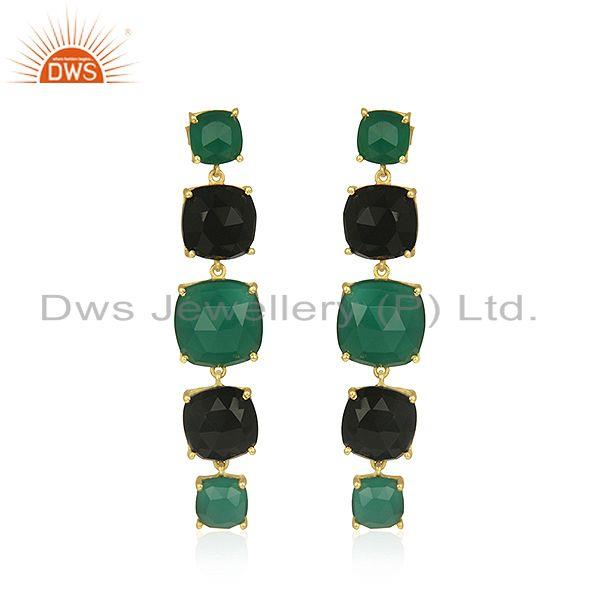 Gold Plated 925 Silver Gold Plated Multi Gemstone Dangle Earrings Supplier India