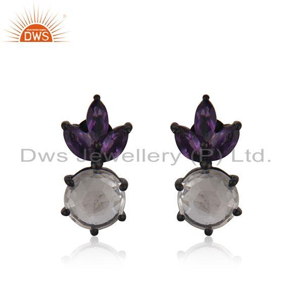 Crystal Quartz Black Rhodium Plated 925 Silver Gemstone Stud Earring Wholesale
