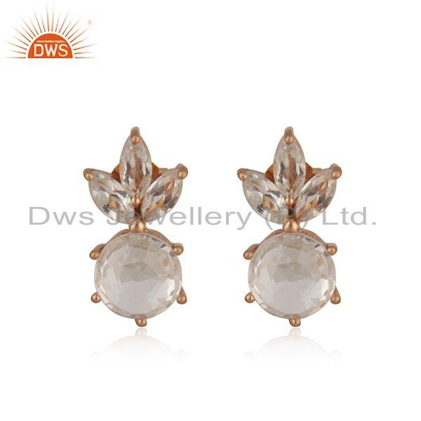 Crystal Quartz Rose Gold Plated 925 Silver Stud Earring Wholesaler India