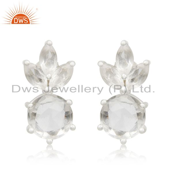 Crystal Quartz Stone 92.5 Sterling Silver Stud Earrings Manufacturer India