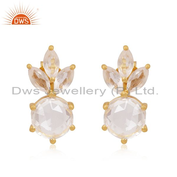 Crystal Quartz Stone 92.5 Silver Gold Plated Handmade Stud Earrings Suppliers