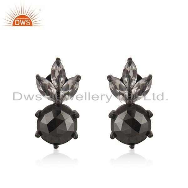 Hematite Gemstone Black Rhodium Plated 925 Silver Stud Earring Wholesale