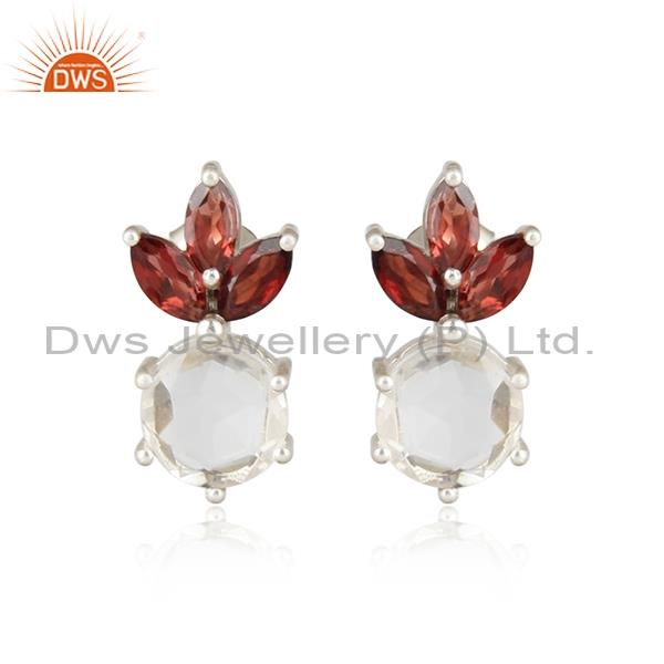 Red Garnet Crystal Quartz White Sterling Silver Earrings