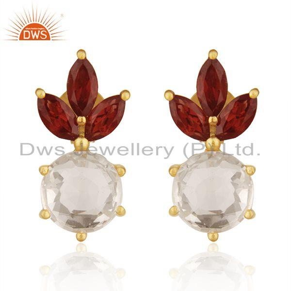 Garnet and Crystal Quartz Gemstone 925 Silver Gold Plated Stud Earring Wholesale