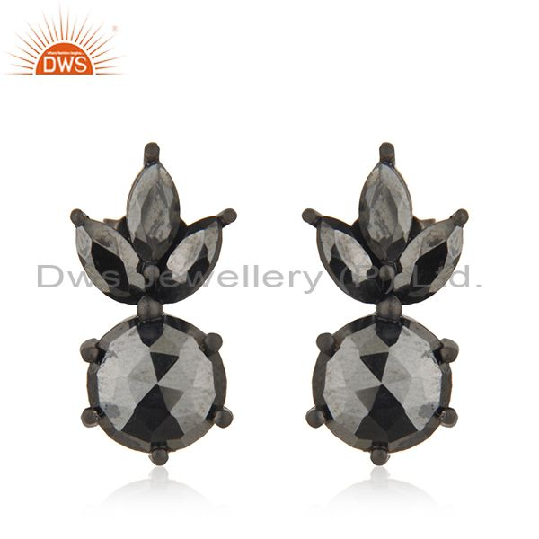 92.5 Silver Black Rhodium Plated Hematite Gemstone Earring Wholesale