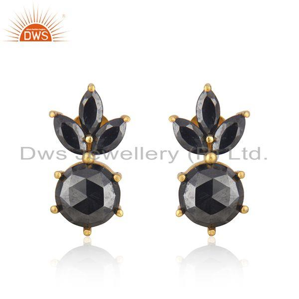 Gold Plated 925 Silver Handmade Hematite Gemstone Stud Earring Wholesale