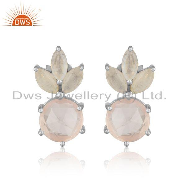 Designer Stud in Solid Silver Crafted with Adorable Rose Quartz