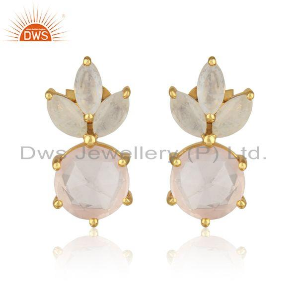Designer gemstone stud in yellow gold on silver with rose quartz
