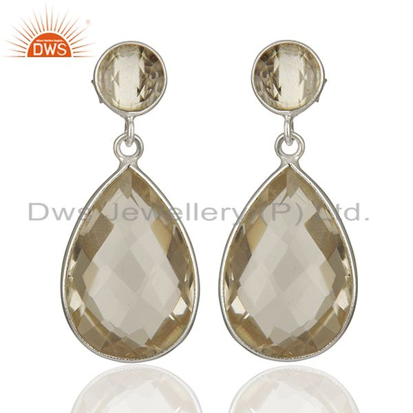 925 Fine Silver Crystal Quartz Earrings Gemstone Jewelry Manufacturer