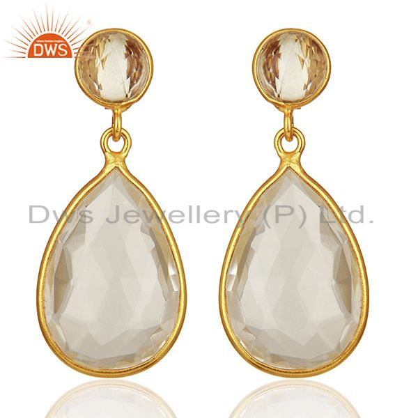 Handmade 925 Silver Gold Plated Crystal Quartz Drop Earrings Supplier