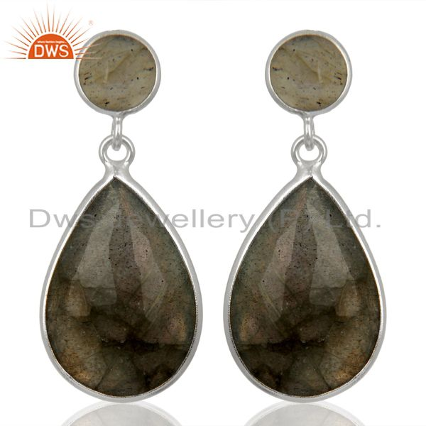 Labradorite Teardrop Bezel Set 925 Sterling Silver Silver Plated Dangle Earring