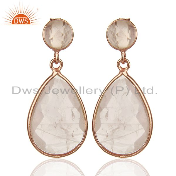 Pear Shape 925 Silver Rose Quartz Gemstone Drop Earrings Manufacturers