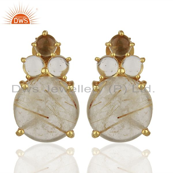 Rutile Quartz Gemstone 925 Sterling Silver Earrings Suppliers