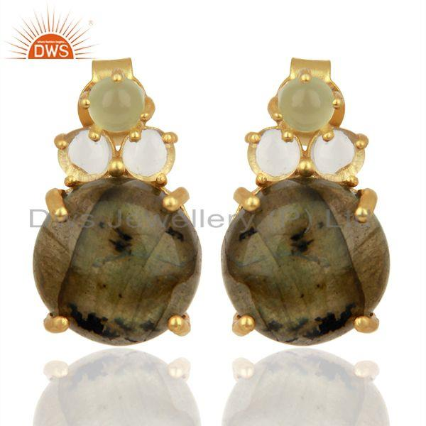 Labradorite Prehnite Chalcedony Crystal Quartz  Gold Plated 925 Silver Earrings