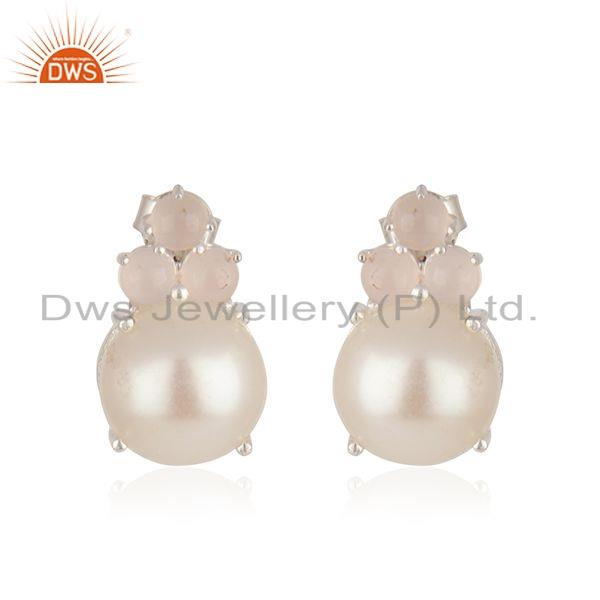 Rose Chalcedony Pearl Gemstone 925 Silver Stud Earrings Jewelry