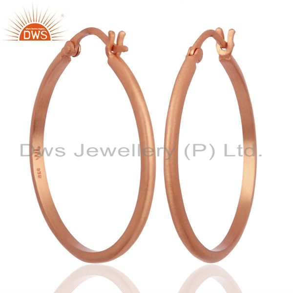 18K Rose Gold Plated 925 Sterling Silver Wide Hoop Earrings Jewelry
