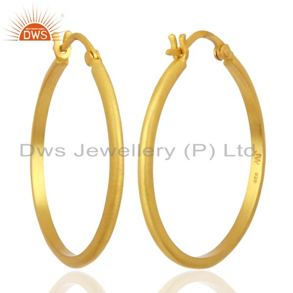 18K Yellow Gold Plated 925 Sterling Silver Wide Hoop Earrings Jewelry
