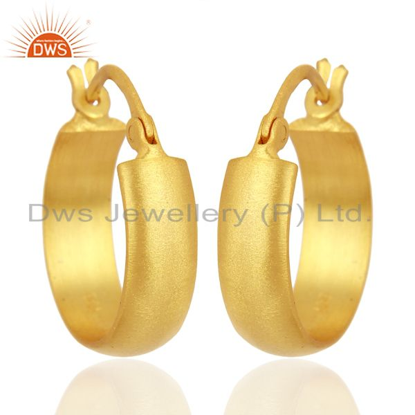 18K Yellow Gold Plated 925 Sterling Silver Handmade Design Hoop Earrings Jewelry