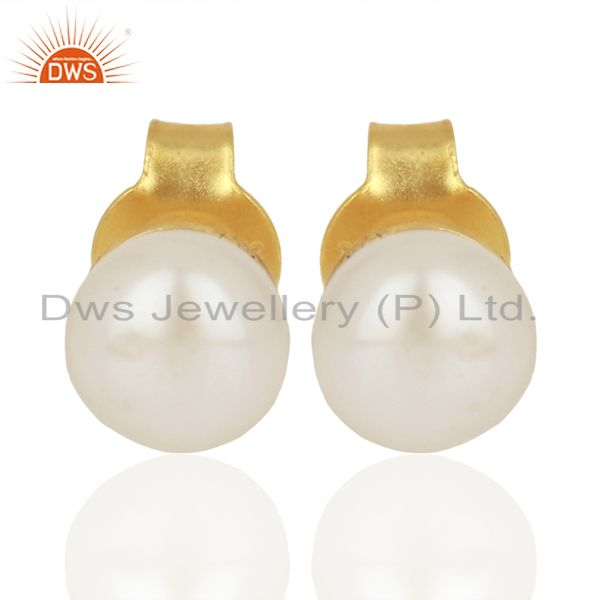 Pearl Studs 18K Yellow Gold Plated Sterling Silver Earrings Gemstone Jewelry
