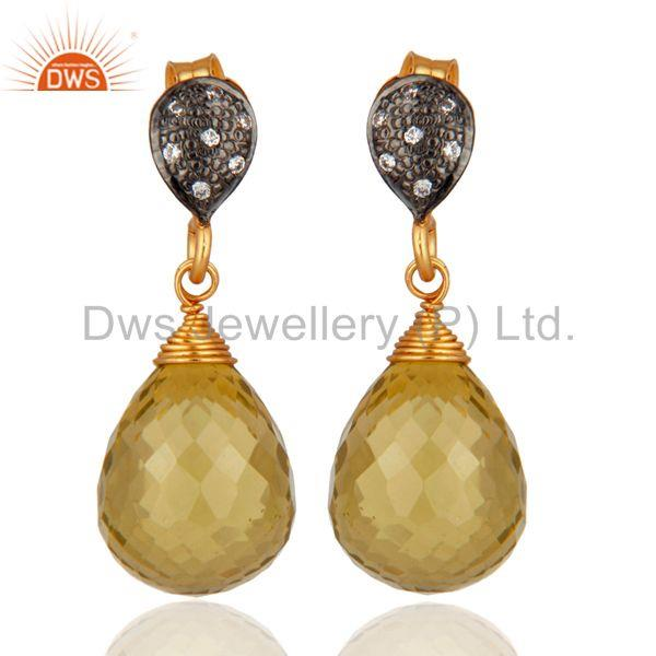CZ and Lemon Topaz Gemstone Gold Plated Silver Earrings Jewelry