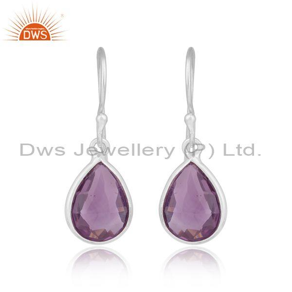 Handmade Sterling Silver Drop Dangle with Amethyst
