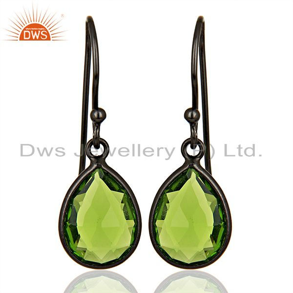 Wholesale Glass Peridot Gemstone Black Rhodium Plated Silver Earrings