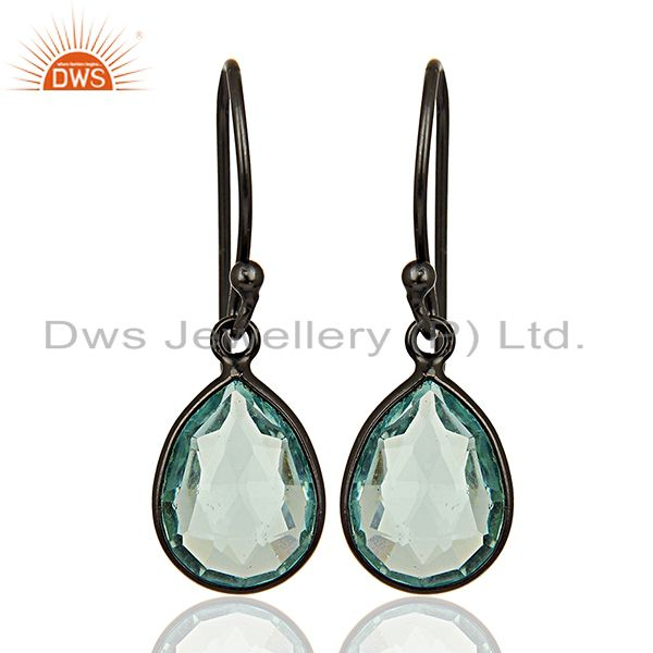 Rhodium Plated 925 Silver Glass Blue Topaz Gemstone Earrings Supplier