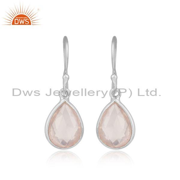 Handmade Sterling Silver Drop Dangle with Rose Quartz