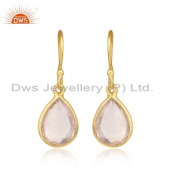 Handmade Yellow Gold on Silver Drop Dangle with Rose Quartz