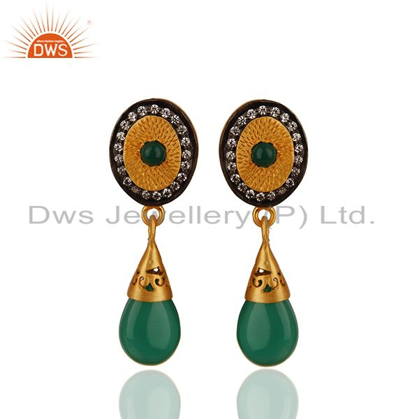 Green Onyx and Zircon Gemstone 925 Silver Drop Earrings Manufacturer