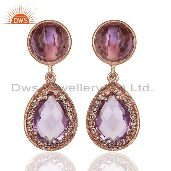 Amethyst Gemstone and White Topaz 925 Silver Girls Earrings Jewelry