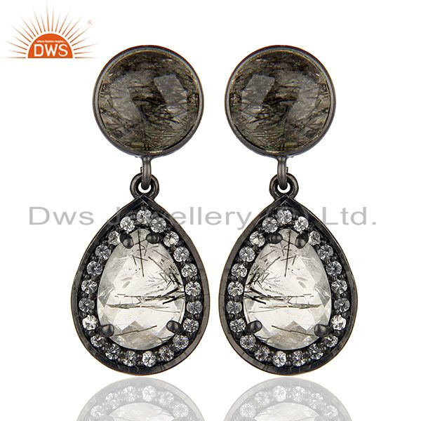 White Topaz and Black Rutile Gemstone Silver Earrings Wholesale