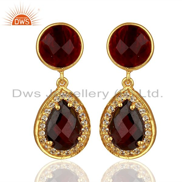 White Topaz and Garnet Gemstone Earring Customized Jewelry Suppliers