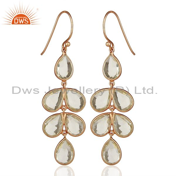 Rose Gold Plated 925 Sterling Silver Dangle Earrings Wholesale