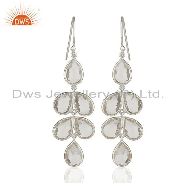 Solid 925 Fine Silver Crystal Gemstone Hook Earring Manufacturers