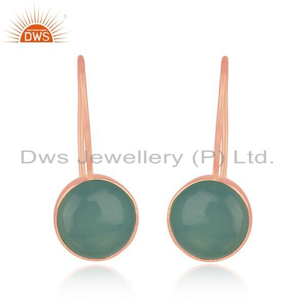 Rose Gold Plated Sterling Silver Aqua Chalcedony Gemstone Earring