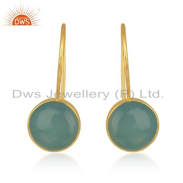 Gold Plated 925 Silver Aqua Chalcedony Gemstone Earring Supplier