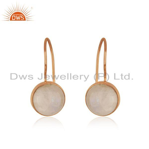 Rose Gold Plated 925 Silver Rainbow Moonstone Drop Earring Manufacturer