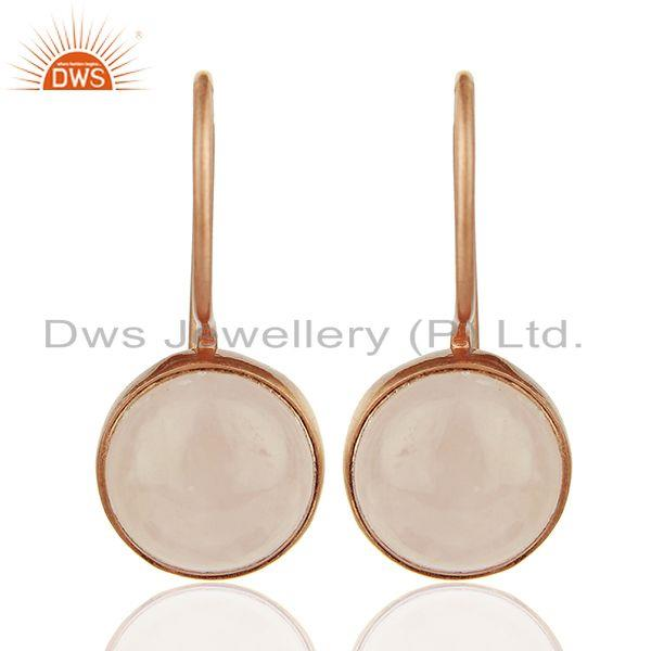 Round Rose Quartz Gemstone 925 Silver Rose Gold Plated Earring Jewelry