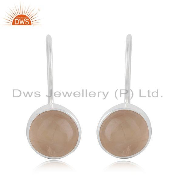 Natural Rose Quartz Gemstone Fine Sterling Silver Earring Wholesale