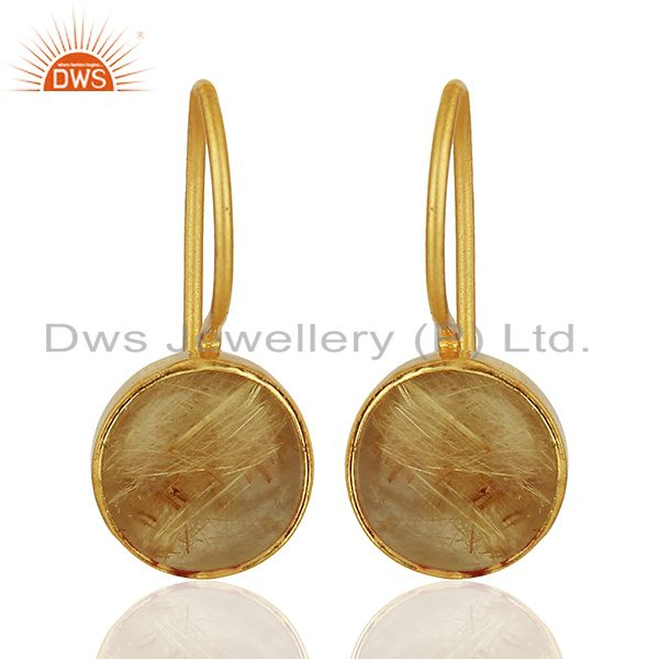 Golden Rutile Gemstone Gold Plated 925 Silver Earring Wholesale