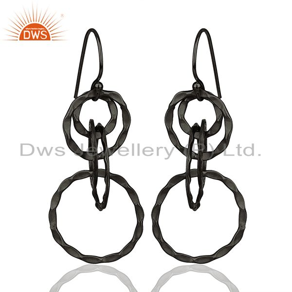 Black Rhodium Plated 925 Silver Round Link Earrings Manufacturer