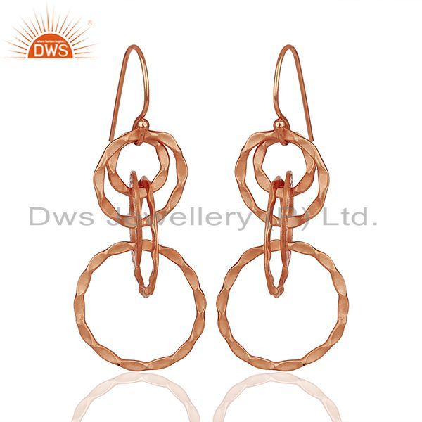 Rose Gold Plated 925 Silver Hammered Earrings Jewelry Wholesale