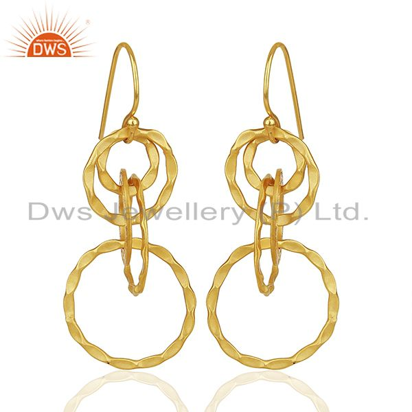 Hammered 925 Silver Gold Plated Dangle Earrings Jewelry Manufacturer