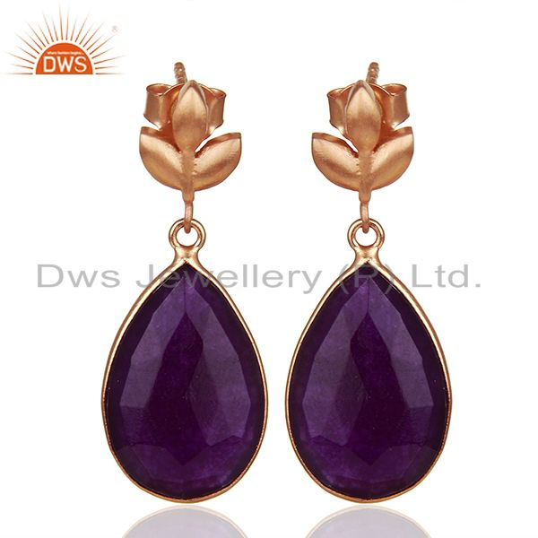 Purple Gemstone Rose Gold Plated Sterling Silver Drop Earrings Jewelry