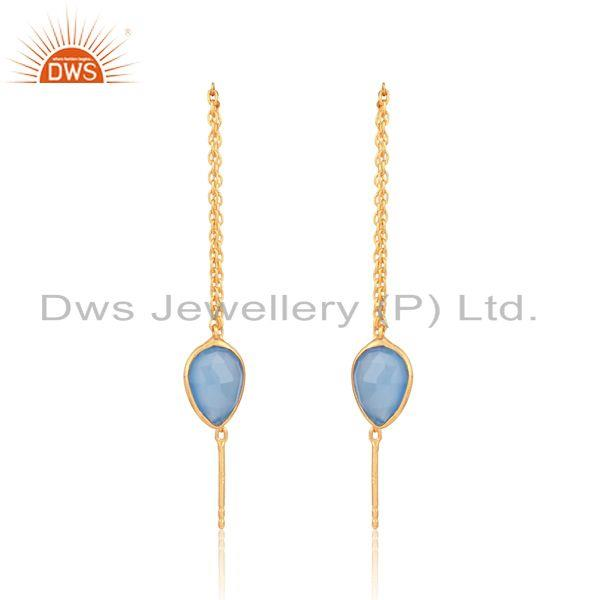 Designer chain dangle in yellow gold on silver blue chalcedony